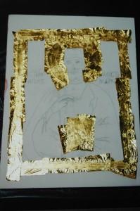Application of gold leaf